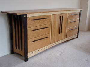Six Drawer Dresser with Center Cabinet